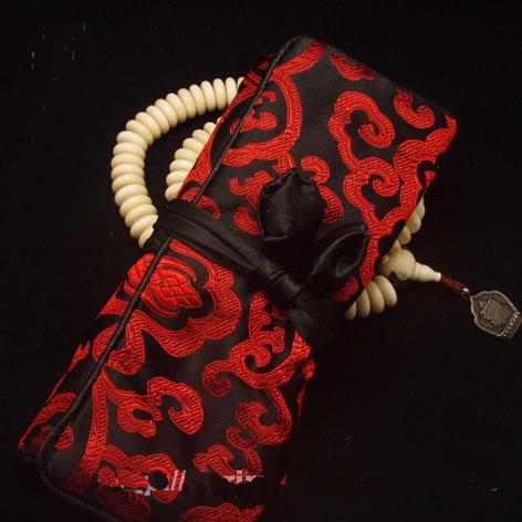 Bolsa de almacenamiento de viaje de joyería plegable portátil Roll Up Bag 3 Cremallera Seda Brocado Bolsa Con Cordón Damas Gran maquillaje Bolsa de cosméticos 10 unids / lote