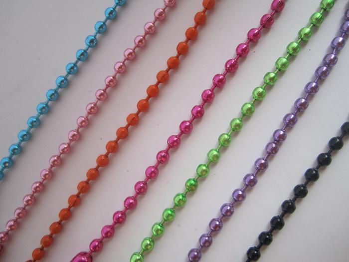 Groothandel - 2.4mm 27 inch gemengde kleur 7 kleur bal ketting ketting met bijpassende connector /