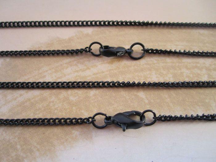 Groothandel-- 19 inch zwarte ketting ketting 1mmx2mm /