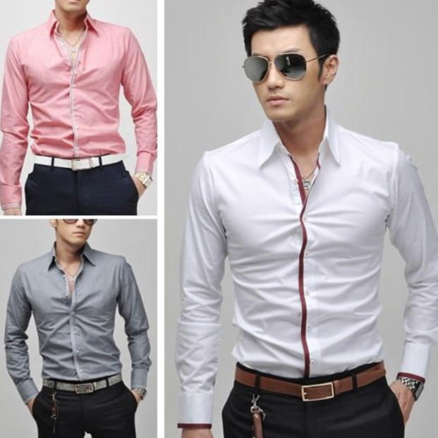 2017 New Mens Casual Slim Fit Stylish Dress Shirts 3colours Gray ...