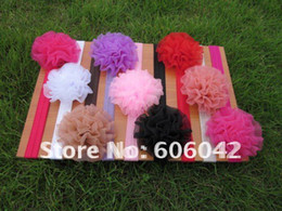 "Wholesale Headbands Rosettes - 50pcs lot Baby Elastic Headbands,Soft Stetch Headband with 3.2"" Rosette Flowers Free Shipping"