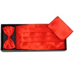 Wholesale Bowtie Hanky Set - red hanky cummerbund and bowtie set ceremonial belt tie knots Girdle Pocket towel corset tower