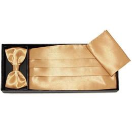 Wholesale Bowtie Hanky Set - neck tie set Champagne hanky cummerbund bowtie ceremonial belt bow ties Pocket square 5sets lot