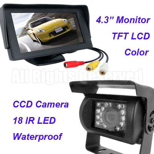 18 IR LED CCD Câmera Reversa 12 V / 24 V + 4.3