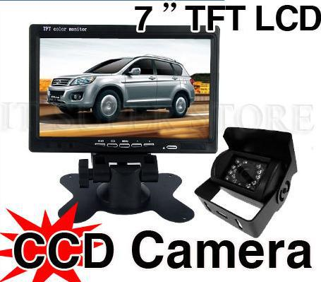 "CAR REAR VIEW KIT 7"" LCD MONITOR+ CCD REVERSE BACKUP CAMERA 18LED &10m video cable For Long Truck Bus 12V/24V"