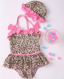 Wholesale Leopard Swimsuit One Piece - Children Swimwear, girls sweet cute leopard One-piece swimsuits, 5set lot, dandys