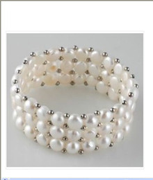 Wholesale Rare Pearls - New rare Genuine 3 row white freshwater pearl bracelet