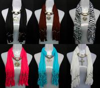 Wholesale Knit Fringed - MIXED design jewelry pendant scarves women's fashion neckcace shawl ployester fringed scarf mixed colors free shipping