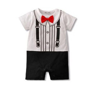 Wholesale Toddler Boy Tuxedo Shorts - Baby rompers bodysuits shortalls boys tuxedo shirts costume top gowns toddler jumpsuits oufits YX514