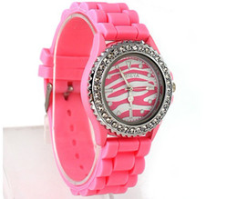 Wholesale Geneva Silicone Watch Pink - 7 color New Unisex Geneva Silicone Rubber Quartz Colorful Candy watch Girl Ladies Womens Mens wrist watch