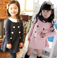 Wholesale Double Breast Girl Dress - Children double breasted skirt, girls long-sleeved bow princess dresses A dress 5pcs lot, dandys