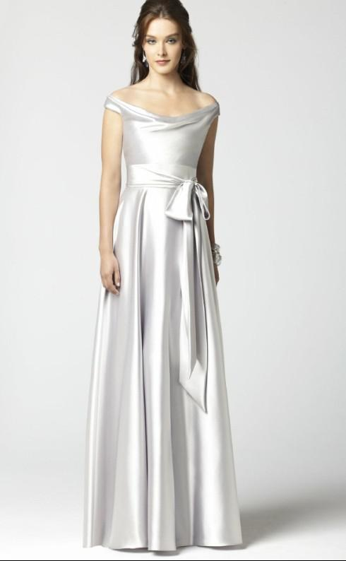 A Line Off The Shoulder Bow Belt Floor Length Elastic Silk ...