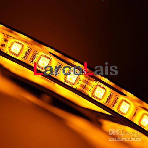24 stücke 5 Mt 12 V 16FT SMD 5050 300LED Wasserdichte Auto Lkw Flexible Lichtstreifen 300 LED 5 Mt Bernstein