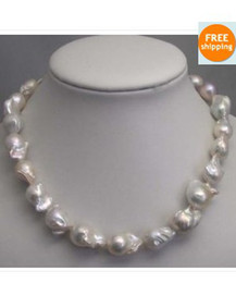 Wholesale Huge Gray Baroque Pearls - HUGE SOUTH SEA 18-20MM WHITE BAROQUE PEARL NECKLACE 20 INCH