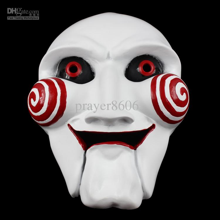 Chainsaw Massacre Jigsaw Puppet Mask Full Face Halloween Creepy Movie Saw Theme Resin Masks Masquerade Party Cosplay Props Adult