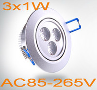 Wholesale Dimmable Led 3x1w - Dimmable High brightness 3x1W led ceiling light with driver 3w LED downlight AC110V-240V CE RoHS free shipping