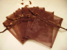 Wholesale Coffee Organza Bags - 100pcs 9X12cm Coffee Brown jewelry gift pouch wedding organza bags Wedding Favor Party