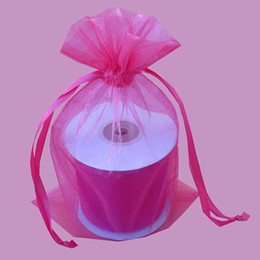 Wholesale Hot Pink Organza Favor Bags - 100pcs 9X12cm Hot pink Fuchsia jewelry gift pouch wedding organza bags Wedding Favor Party