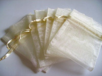 bolso regalo organza marfil al por mayor-100 unids 9X12 cm marfil / crema / bolsa de regalo de la joyería de color beige bolsas de organza de la boda fiesta de favor de la boda