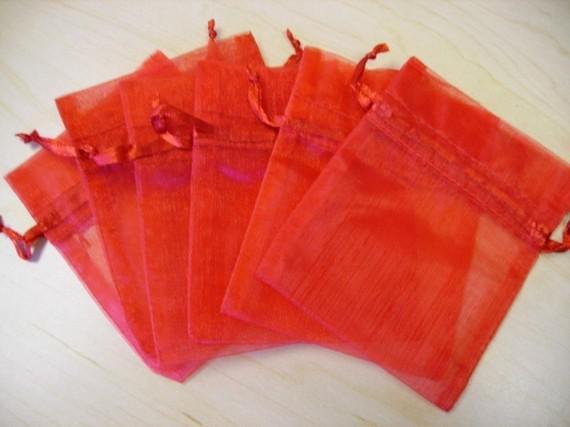100 stücke 9X12 cm Rot schmuck geschenkbeutel hochzeit organza taschen Hochzeit Gunsten Party