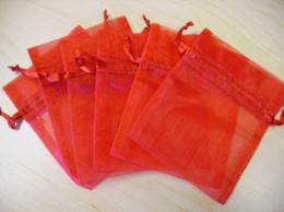 fãs da pena para casamentos Desconto 100 pcs 9X12 cm Red jóias presente bolsa de casamento sacos de organza Wedding Favor Party