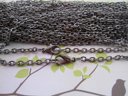 $enCountryForm.capitalKeyWord Canada - Wholesale-70cm Gun black Link chain 3mmx4mm with Lobster clasp 50pcs lot