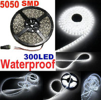 Wholesale Led Lamp Metre - Good quality White 5050 SMD Flexible LED Strip Light pure White Waterproof strips 300led 5M 60LED metres led lamp lighting FREE DHL