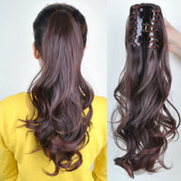 Wholesale multi color hair extension online - Multi color inch g Clip In On synthetic hair extensions curly Pony tail
