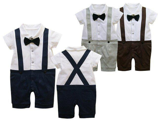2017 Kids Clothing Baby Boy romper Gentleman outfits Short sleeve Suspenders trousers One-Piece & Rompers baby onesies Jumpsuits Boy Clothes