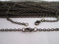 """chapelet à perles blanches achat en gros de-Vente en gros - 70cm Bronze antique """"0"""" forme de chaîne de collier, chaîne de montre de poche 100mm / lot de 3mmx4mm"""
