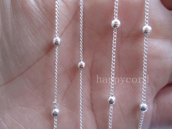 Wholesale  - めっき銀色の明るいビードチェーン3mm 3mm 3mm 32フィート/ロット