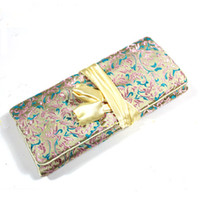 Wholesale Damask Satin - Cheap Damask Cosmetic Make up Bag Zipper Rope 10pcs pack Mix Color Free