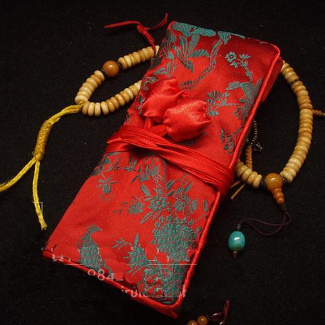 Pretty Roll Up Makeup Bag Designer Silk Fabric Zipper Rope pack