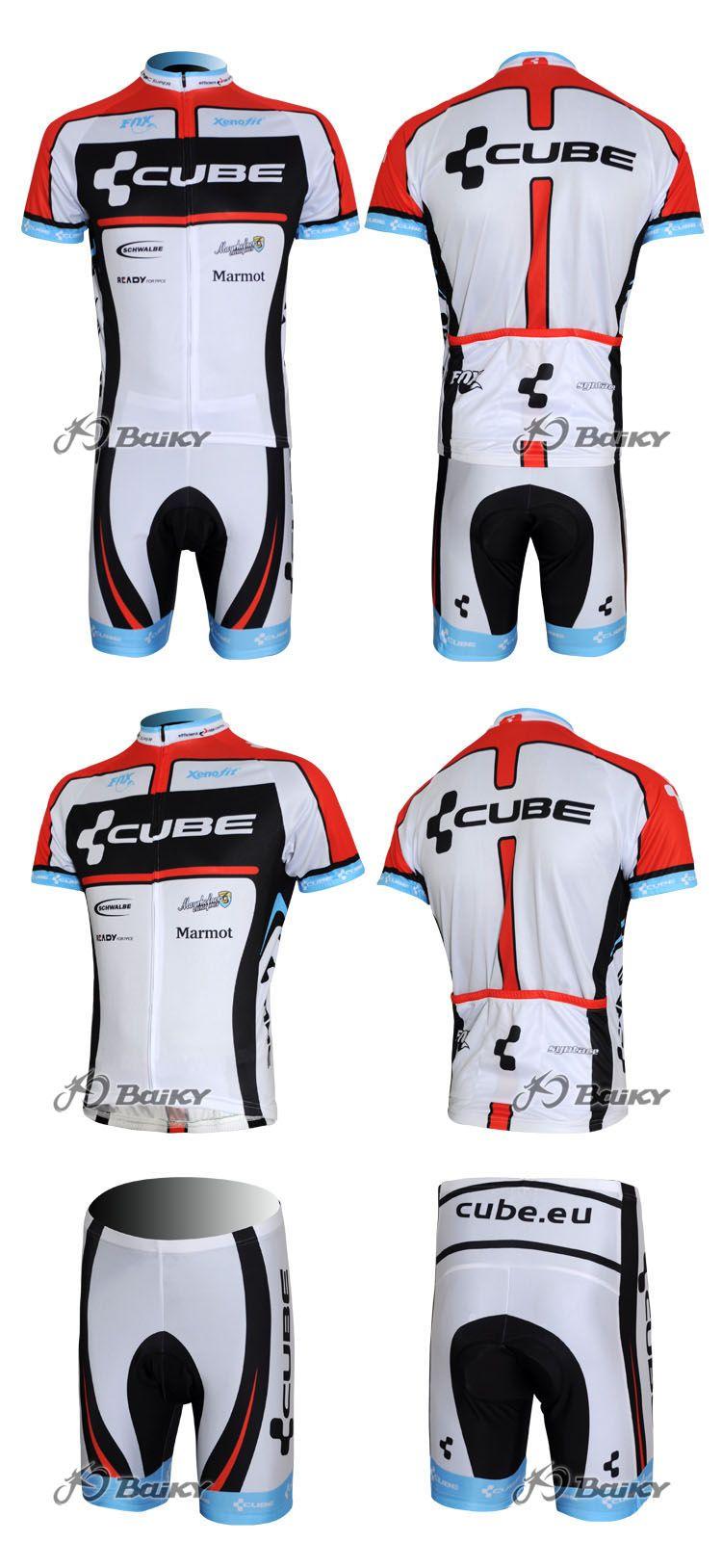 2012 Cube Black White Cycling Wear Short Sleeve Cycling Jersey + Short Set Maat: XS-4XL C043