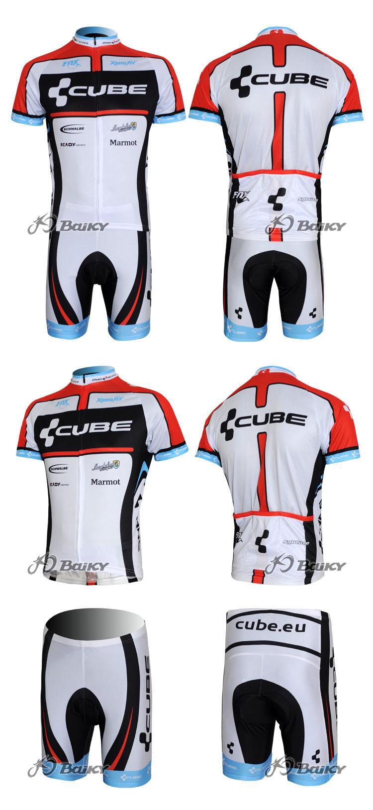 2012キューブブラックホワイトサイクリングウェア短袖サイクリングジャージ+ショートセットサイズ:XS-4XL C043