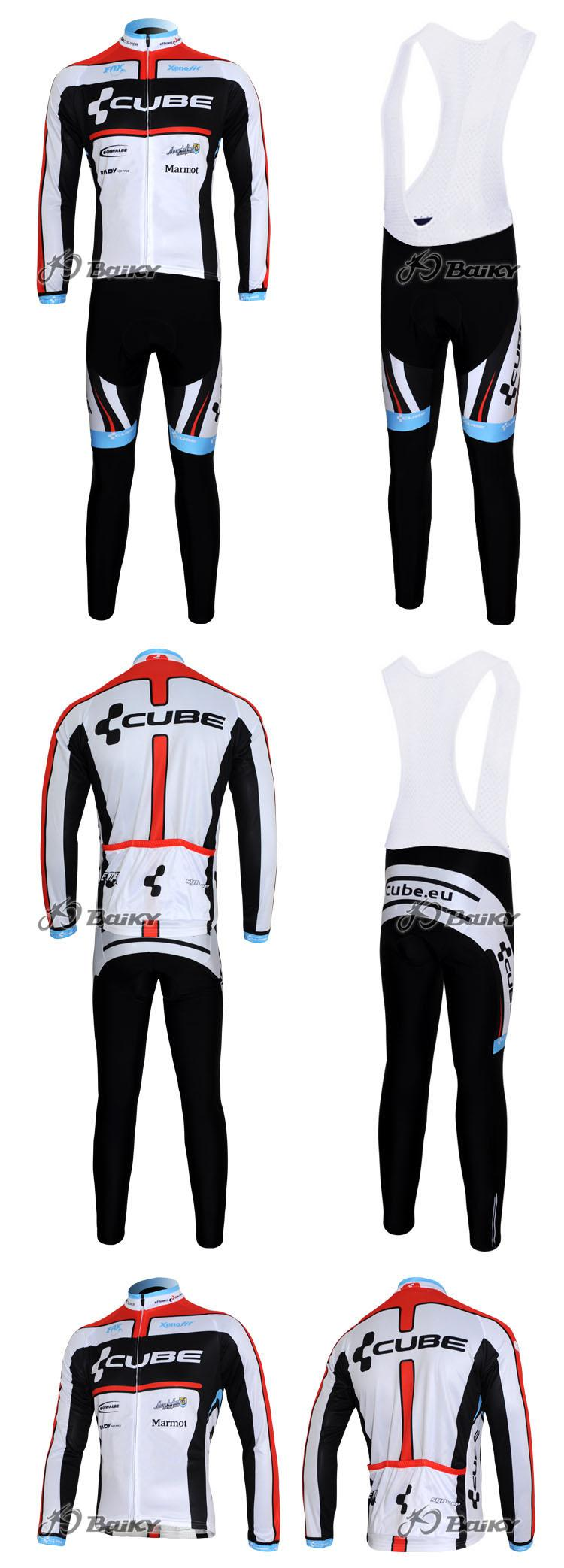 冬のフリースサーマルサイクリングロングジャージ+ビブパンツ2012キューブブラックレッドピックサイズ:XS-4XL C039