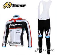 jersey térmico negro al por mayor-WINTER FLEECE THERMAL CYCLING JERSEY LARGO + BIB PANTALONES 2012 CUBE BLACK RED-PICK TALLA: XS-4XL C039