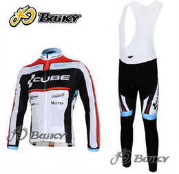WINTER FLEECE THERMAL CYCLING JERSEY LARGO + BIB PANTALONES 2012 CUBE BLACK RED-PICK TALLA: XS-4XL C039