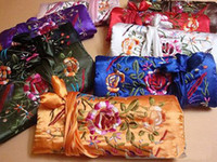 Wholesale Wholesale Jewellery Roll - Luxury Travel Jewellery Roll Handmade Multi Bags Cotton Filled Silk Embroidery Zipper Drawstring Packaging Pouches 30pcs lot Mix Color Free