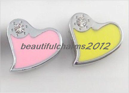Groothandel 8mm 100 stks strass hart glijbrieven charme accessoires