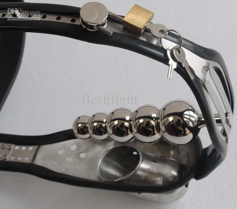 Wholesale - Male Fully Adjustable T-type stainless steel chastity belt anal plu male chasity device.