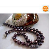 Wholesale Silver Sterling Jewellry Necklace - New Fine pearl jewellry 18' 9-10mm Black Purple Akoya Pearls Necklace 925S