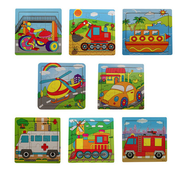 top popular 9 wooden puzzle jigsaw puzzle of a series of children's toys traffic puzzles educational toys 2019