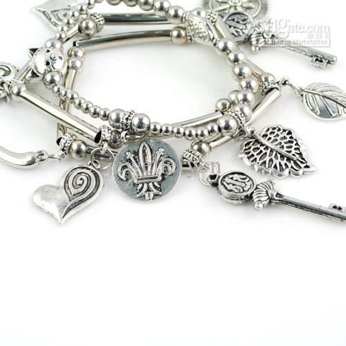 Fashon Bracciali Ciondoli in foglia lega gioiello Bracciale in rame antico, BR-1293