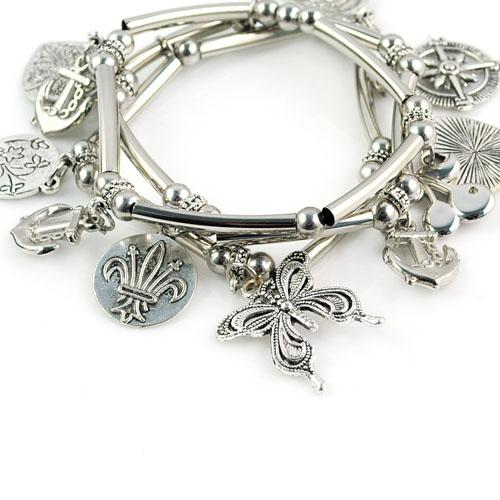Alloy Butterfly pendant bracelets with CCB beads&copper tube,BR-1294