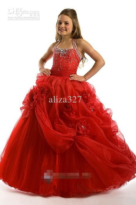 Nieuwe mooie bloem kinderkleding opknoping nek kralen custom rood meisje prinses jurk prom dress de Verenigde Staten Maat 2 4 6 8 10 12 14