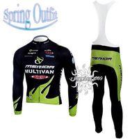 Wholesale Merida Green Cycling Jersey - SPRING CYCLING LONG JERSEY+BIB PANTS 2010 MERIDA GREEN-PICK SIZE:XS-4XL M302