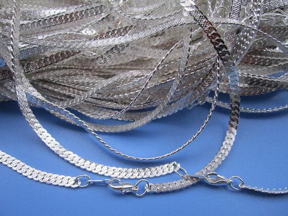 Groothandel - 3mm 17 inch glanzend verzilverde platte vorm ketting met kreeft sluit 50 stuks / partij