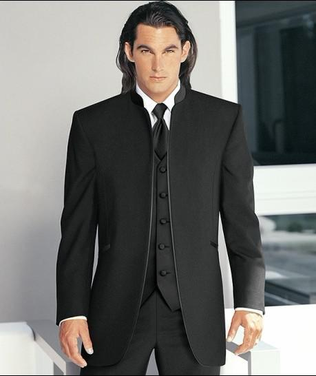 Custom Made Black Stand Collar Groom Tuxedos Best Man Suits ...