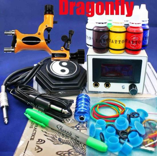 Hot Sale Wholesale New Dragonfly Rotary Tattoo Machine Kits 50 Needles LED Power Supply System Complete